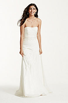 Crinkle Chiffon Wedding Dress with Draping V3540
