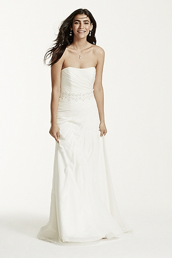Crinkle Chiffon Wedding Gown with Draping V3540
