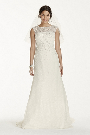 Petite Cap Sleeve Sheath with Scattered Pearls 7V3763