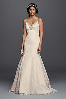 Petite All over Lace Beaded Trumpet Wedding Dress 7V3801