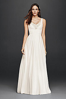 Petite Tank Wedding Dress with Embellished Bodice 7V3806