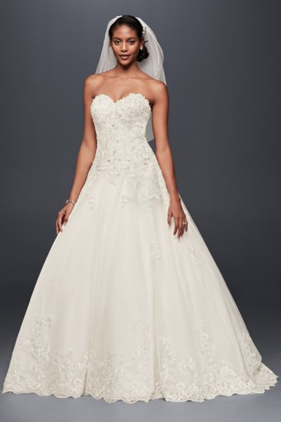 Strapless Beaded Lace Ball Gown Wedding Dress | David's Bridal