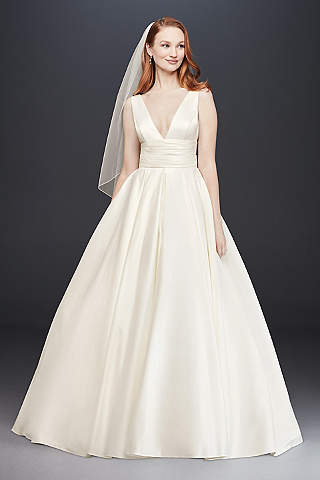 Satin wedding dresses davids bridal long ballgown simple wedding dress davids bridal collection junglespirit Gallery