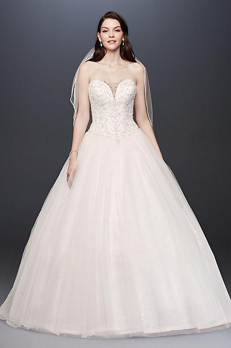 Beaded Illusion Bodice Ball Gown Wedding Dress | David\'s Bridal