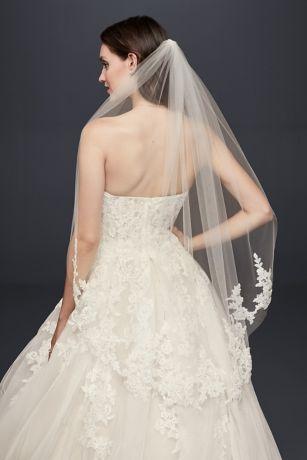 Trailing Floral Lace Applique Fingertip Veil David S Bridal