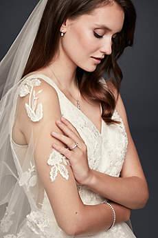 Embellished Lace Applique Two-Tier Fingertip Veil