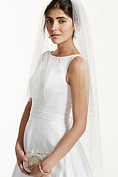 One Tier Scattered Crystal Mid Length Veil V528