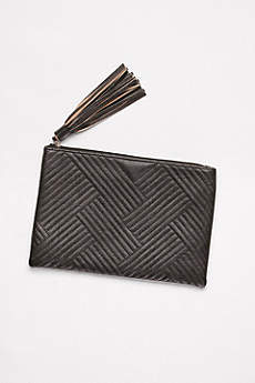 Quilted Faux-Leather Tassel Clutch