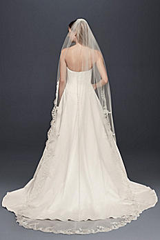 Floral Embroidered Cathedral Veil with Rhinestones V682C