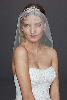 Caged Blusher Veil with Crystal Beaded Comb V687