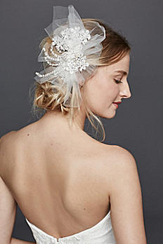 Blusher Veil with Beaded Floral Lace V690