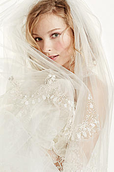 Two Tier Scallop Beaded Edge Cathedral Veil V8248FBHN39B