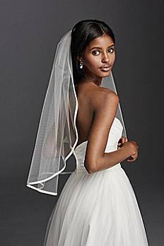 Satin Trim One Tier Mid Veil V885