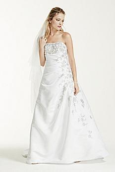 Strapless A-line Wedding Dress with Side Drape V9665