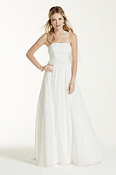 Chiffon Wedding Dress with Beaded Lace Waist NTV9743