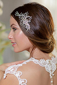 Floral Leaf and Filigree Hand-Wired Crystal Clip VALENTINA
