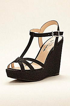 Touch of Nina Strappy Glitter Wedge Sandal VALERY