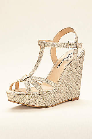 Touch of Nina Black Wedge Shoes (Touch of Nina Strappy Glitter Wedge Sandal)