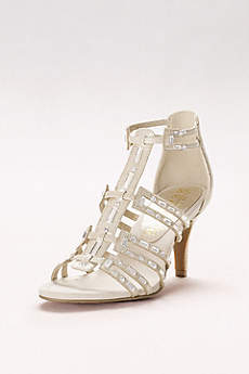 New York Transit Ivory Peep Toe Shoes (Baguette-Strap Gladiator Heels)