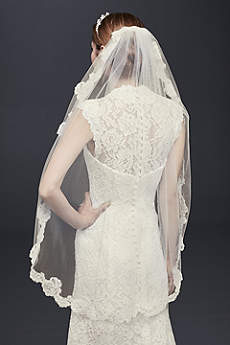 One Tier Veil with Pearl Embellished Alencon Lace