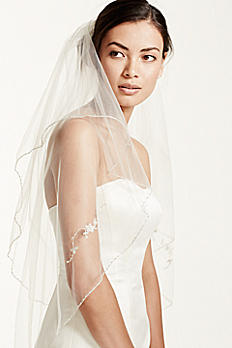 Two Tiered Veil with Beaded Metallic Edging VCT258S