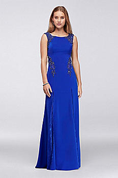 Matte Jersey Column Dress with Lace Godets VCYETS4659