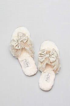 Pretty You London Ivory (Faux-Fur Flip-Flop Slippers with Bow)