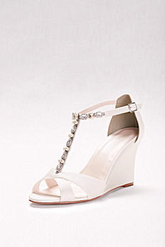 Pearl and Crystal T-Strap Wedges VENI