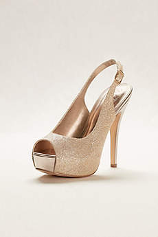 Blossom Grey Peep Toe Shoes (Glitter Sling Back Peep Toe High Heel)