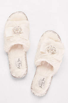 Pretty You London Ivory Slippers (Faux-Fur Slippers with Jeweled Ribbon Bow)
