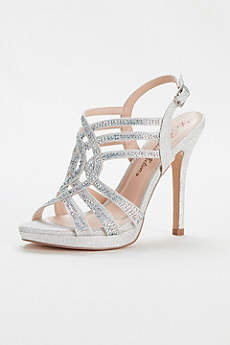 Blossom Grey Peep Toe Shoes (Strappy Crystal Platform Sandal by Blossom)