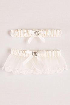 Adjustable Satin Garter Set with Bow VL5864D