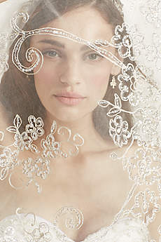 Filigree Lace and Sequin Applique Single Tier Veil