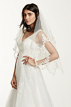 Two Tier Pointed Lace Edged Veil VL8628HN39B
