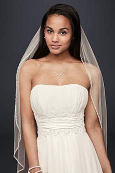 Bridal Elbow Length Veil, 1 Tier with Beaded Edge