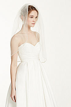 Bridal Elbow Length Veil, 1 Tier with Beaded Edge VMP9573