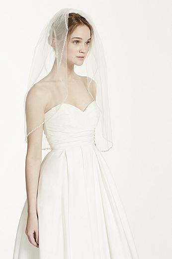 Bridal Elbow Length Veil, 1 Tier with Beaded Edge VMP9573