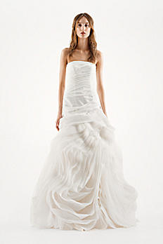 White by Vera Wang Organza Trumpet Wedding Dress VW351011