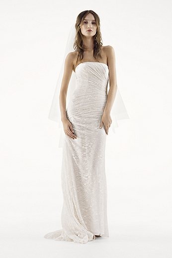 Strapless Draped Lace Column Gown VW351044