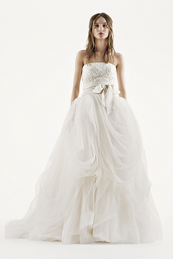 Tossed Tulle Ball Gown with Embroidered Bodice VW351077