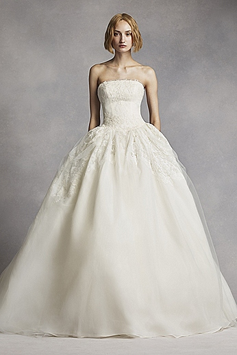 Twill Gazar Lace Applique Gown with Tulle Overlay VW351088