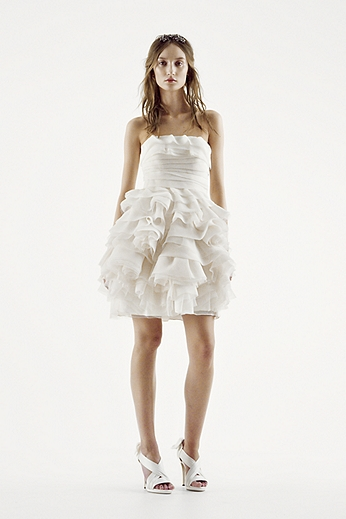 White by Vera Wang Strapless Tiered Wedding Dress VW351126