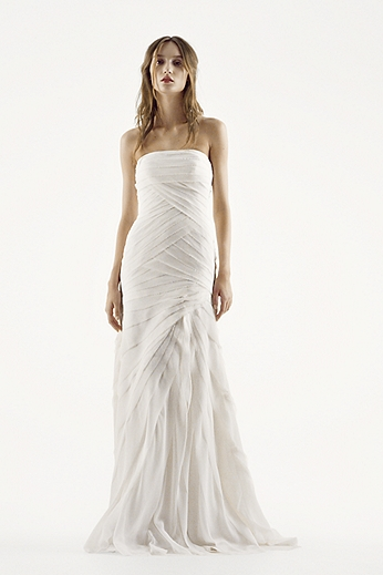 White by Vera Wang Strapless Chiffon Wedding Dress VW351146
