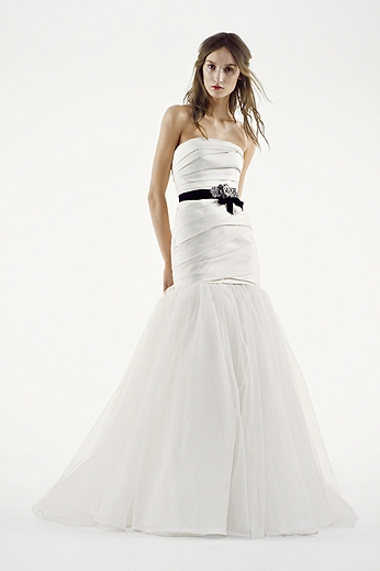 Mikado Fit and Flare Gown with Tulle Skirt VW351169