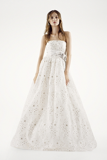 Organza Laser Cut Floral Fabric Ball Gown VW351219