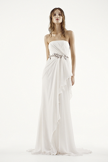 Strapless Crinkle Chiffon Column Gown VW351234
