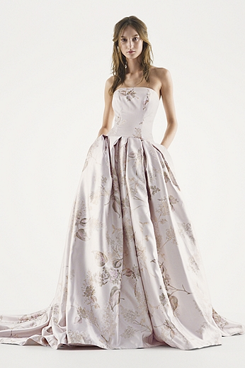 Strapless Metallic Jacquard Ball Gown VW351253