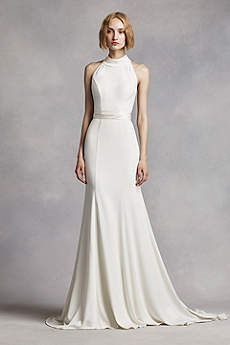 Sheath form fitting wedding dresses david 39 s bridal for Simple form fitting wedding dresses