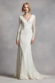 White by Vera Wang Lace Sleeve Wedding Dress 4XLVW351270