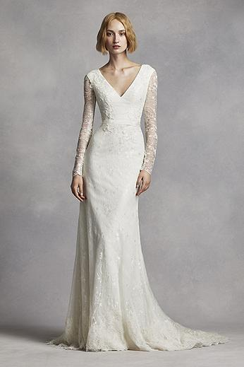Long Sleeve Beaded Lace Applique Column Gown VW351270